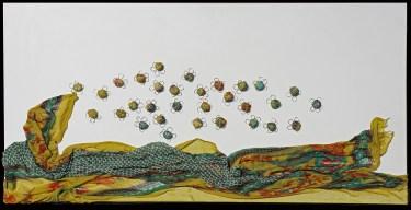 Arch. n. 1.694 Il volo dei buoni frutti tessuto, resina, filo di ferro zincato su tavola smaltata, cm 50x100 – 2019 euro 450