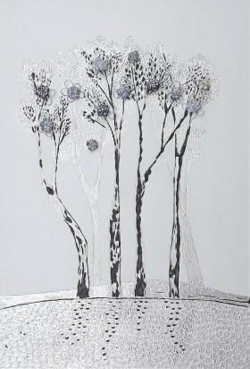 Arch. n. 1.676 La foresta nel mare, incisione su dibond + vestiti usati compattati con filo ferro zincato e resina, cm 60x40, 2019