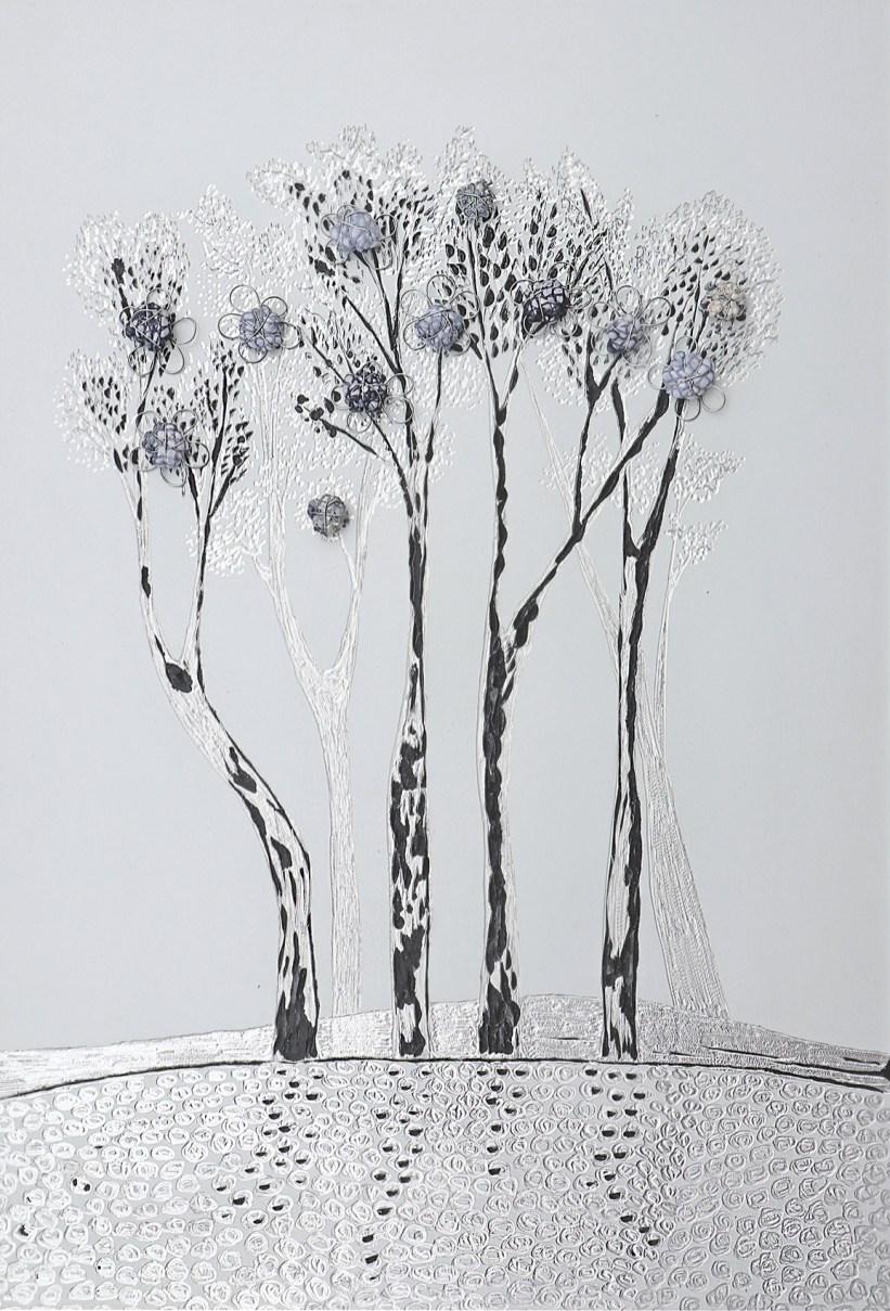 Arch. n. 1.676La foresta nel mare, incisione su dibond + vestiti usati compattati con filo ferro zincato e resina, cm 60x40, 2019 Info: +39 3480302605