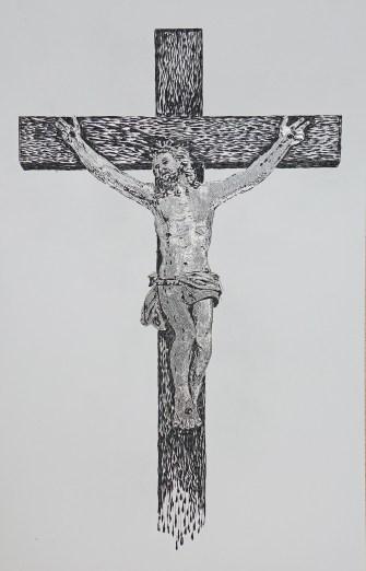 Arch. n. 1.714 Cristo in croce cm 88x56 – incisione su alluminio - 2019