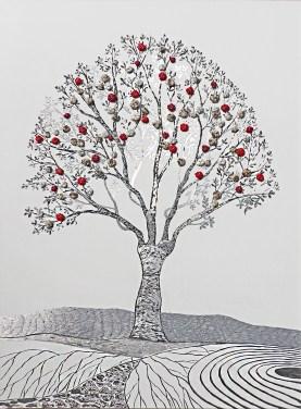 """La foresta nel mare: Archivio n. 1829- cm 102x74,5 - 2020 - incisione su alluminio + """"frutti"""" creati con vestiti usati compattati con filo di acciaio inox e resina. Avvitati dal retro. L'opera è archiviata ed è completa di attaccaglia. € 350"""