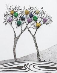 """La foresta nel mare: Archivio n. 1875 /9 – cm 23x18,5- 2020 - incisione su alluminio + """"frutti"""" sono creati con vestiti usati compattati con filo di acciaio inox e resina. Avvitati dal retro. € 40"""