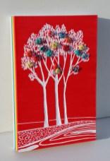 Mattoncino dei buoni frutti - Archivio n. 1874/7 Cm 30x20x3,5- Anno 2020 - Smalto e incisione su PVC da riciclo (7 strati da 0,5 cm a creare l'arcobaleno) + i frutti creati con vesti usati compattati con filo di acciaio inox e resina.