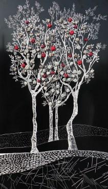 """La foresta nel mare: Archivio n. 1830 cm 83x48 - 2020 incisione su alluminio + """"frutti"""" creati con vestiti usati compattati con filo di acciaio inox e resina. Avvitati dal retro. L'opera è archiviata ed è completa di attaccaglia. € 280"""