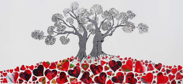 Gli alberi dell'amore, archivio n. 1937. Cm 77x177, anno 2020. incisione su alluminio + cuori in PVC dipinti e sagomati.