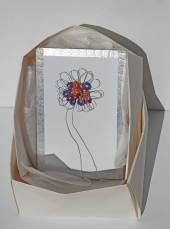 i BUONI-FRUTTI- archivio n. 1947- cm 28x18,5- 2021. incisione su metallo+ stoffa resinata e filo acciaio+ scatola in carta creata con la tecnica dell'origami.