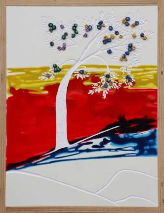 I buoni frutti, archivio n. 2032, cm 55x41, 2021 Pittura a smalto e incisione su PVC + vestiti usati compattati con acciaio inox e resina