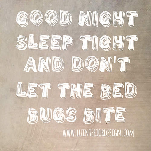 goodnight, sleep tight and don't let the bed bugs bite