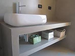 mensole in cartongesso, mobile bagno lavello