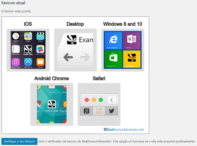 Demonstração de ícones e favicons criados pelo plugin, para diferentes plataformas.