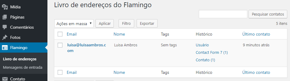 flamingo-wordpress-livro-de-enderecos