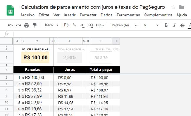 Calculadora de parcelas com juros e taxas do PagSeguro-pc