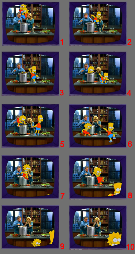 Breakdown of a Simpsons scene: Itchy and Scratchy trying to Kill