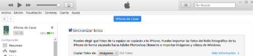 pasar fotos de iPhone a PC Windows 10 con iTunes