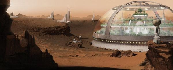 A superficie do Planeta vermelho começa a ser povoada pelos humanos (concepção de artista).