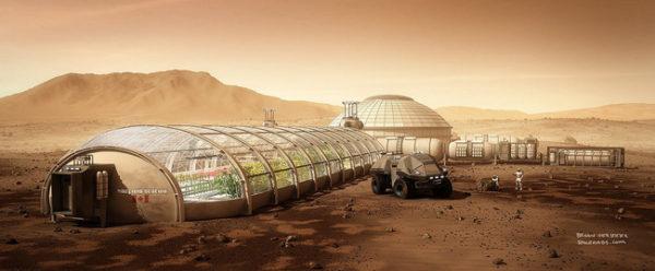 Uma estufa agrícola planejada para produzir alimentos em Marte (Ilustração).