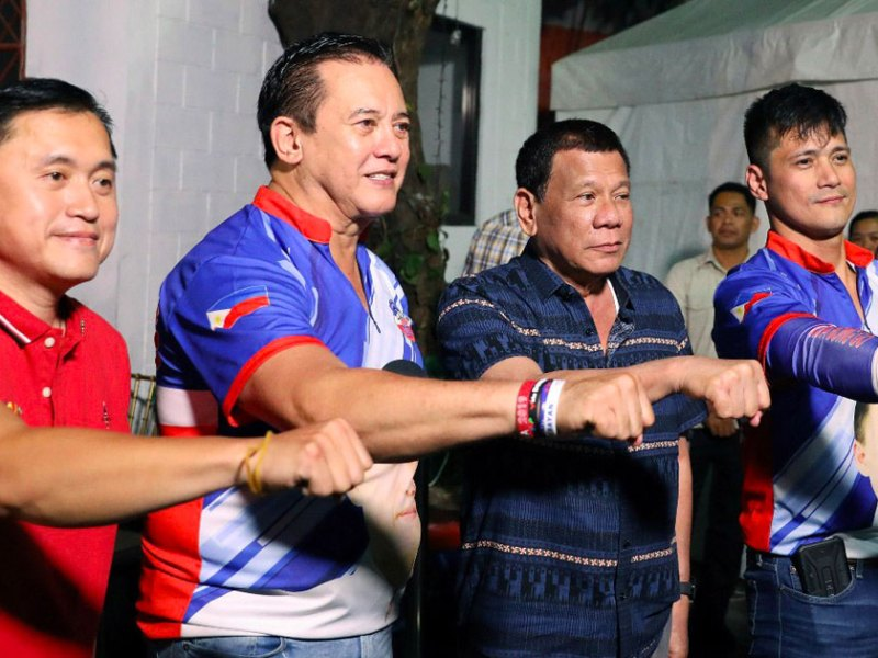 Bong Go, Philip Salvador, Rodrigo Duterte and Robin Padilla