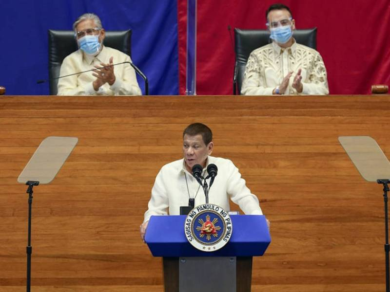 President Rodrigo Duterte delivers his 5th State of the Nation Address at the House of Representatives Complex in Quezon City on July 27, 2020.