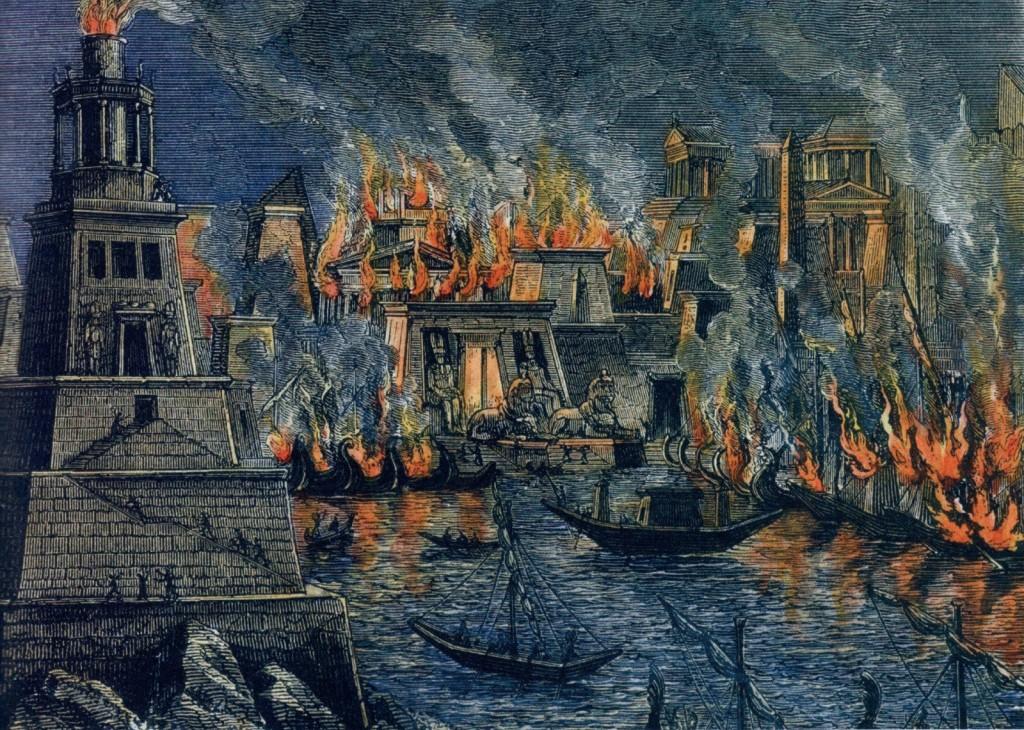 Biblioteca de Alexandria Incendiada pela Turba Cristã insuflada pelo Bispo Theofilo de Alexandria