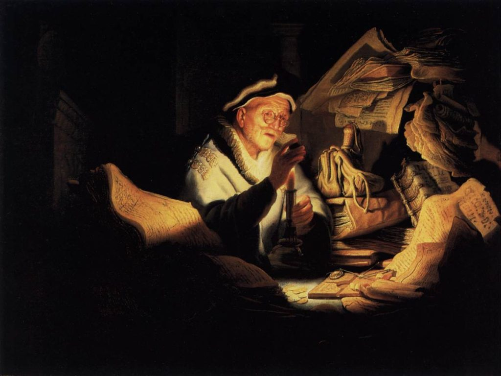 "Parable of the Rich Man or ""The Money Changer"" (Das Gleichnis vom reichen Kornbauern / Der reiche Narr / Der Geldwechsler), 1627, Rembrandt van Rijn (Dutch Baroque Era Painter and Engraver, 1606-1669), oil on oak panel, 32 × 42.5 cm (12.6 × 16.7 in.), Staatliche Museen, Gemäldegalerie, Berlin, Germany."