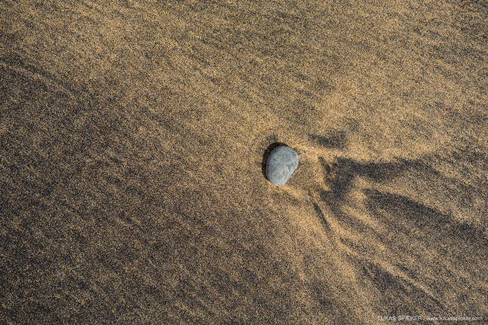 A stone in the sand in Fuerteventura, Canary Islands.