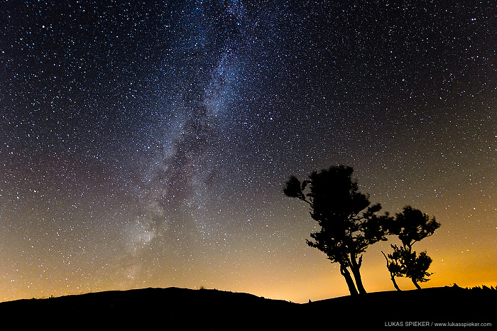 The Milky Way is pictured above trees at the Creux du Van in Switzerland on August 15, 2013.