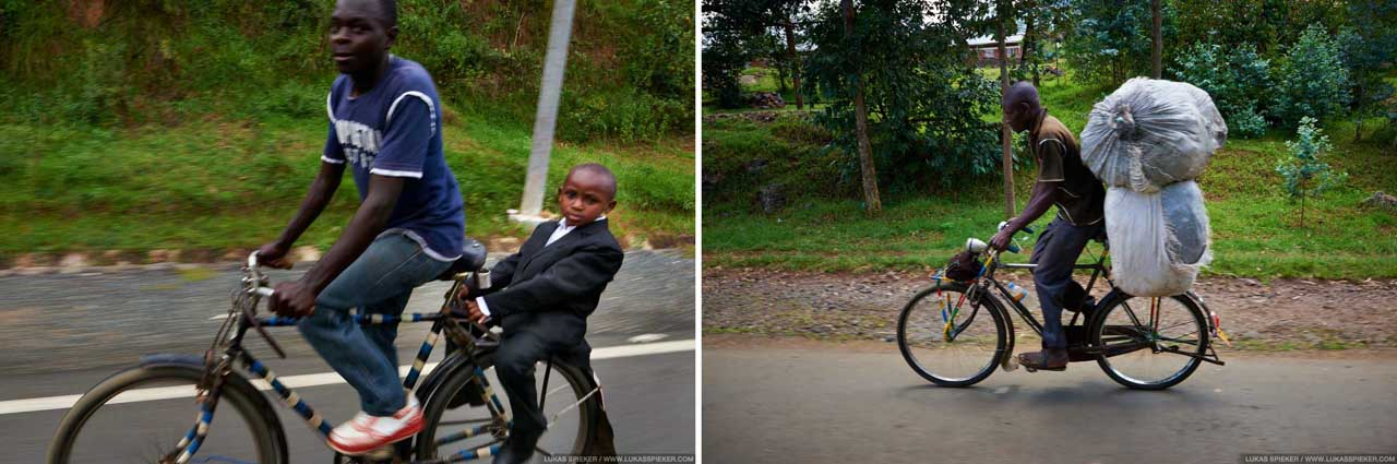 In Rwanda, cargo bicycles are widely used for the transportation of goods and passengers.