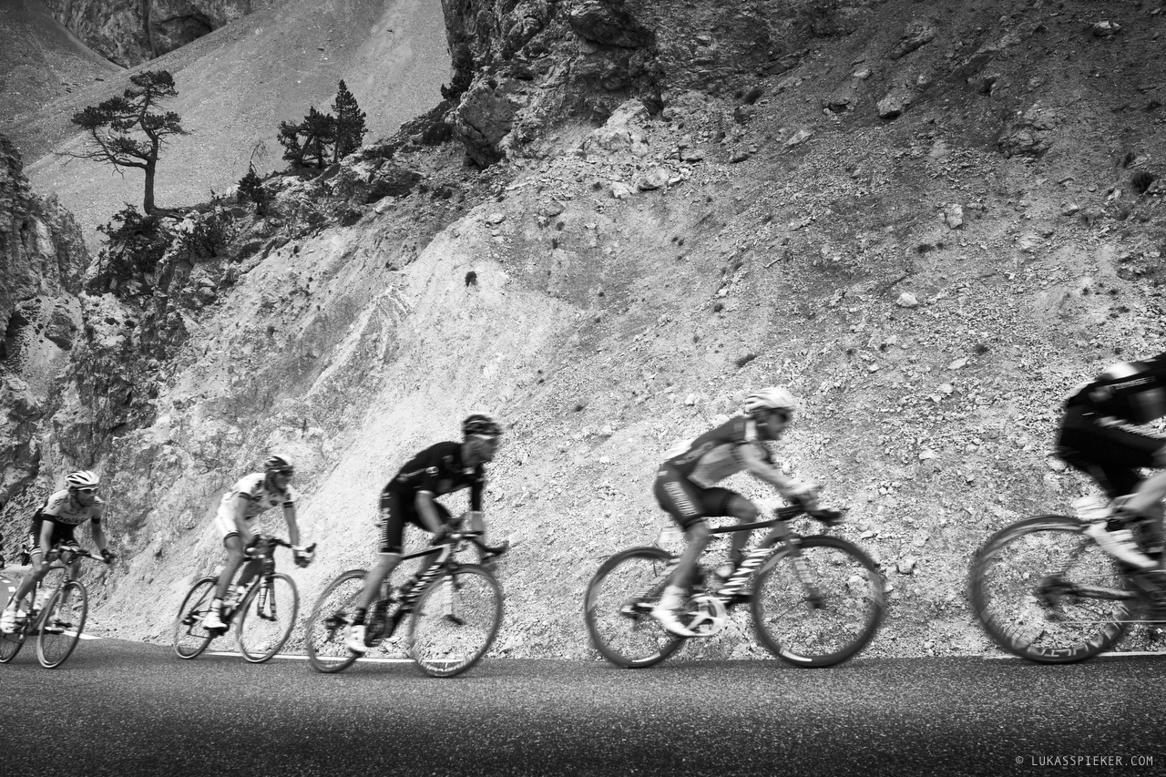 Riders descend from Col d'Izoard during Tour de France stage 14 leading from Grenoble to Risoul July 19, 2014.