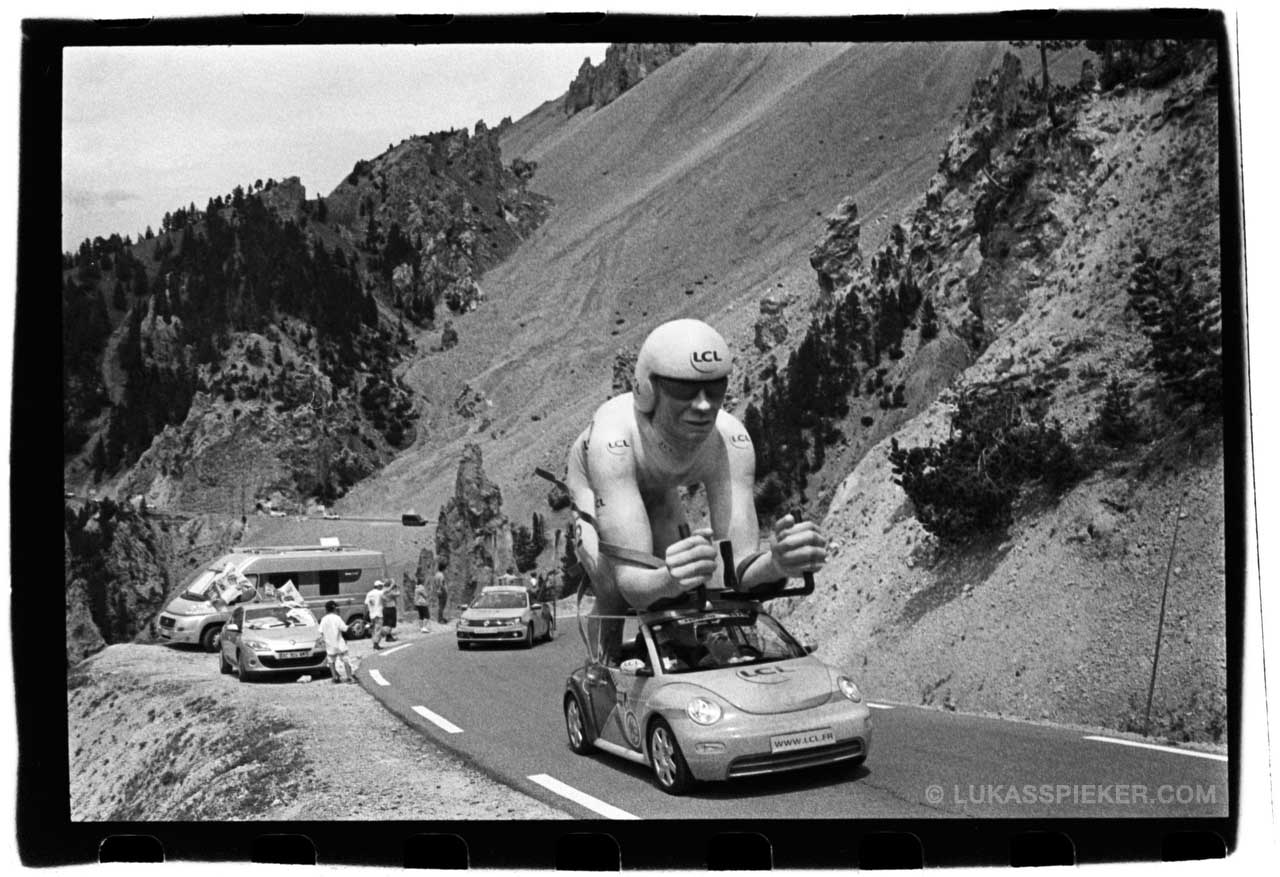 The advertising caravan passes Col d'Izoard during stage 14 of the Tour de France July 19, 2014.