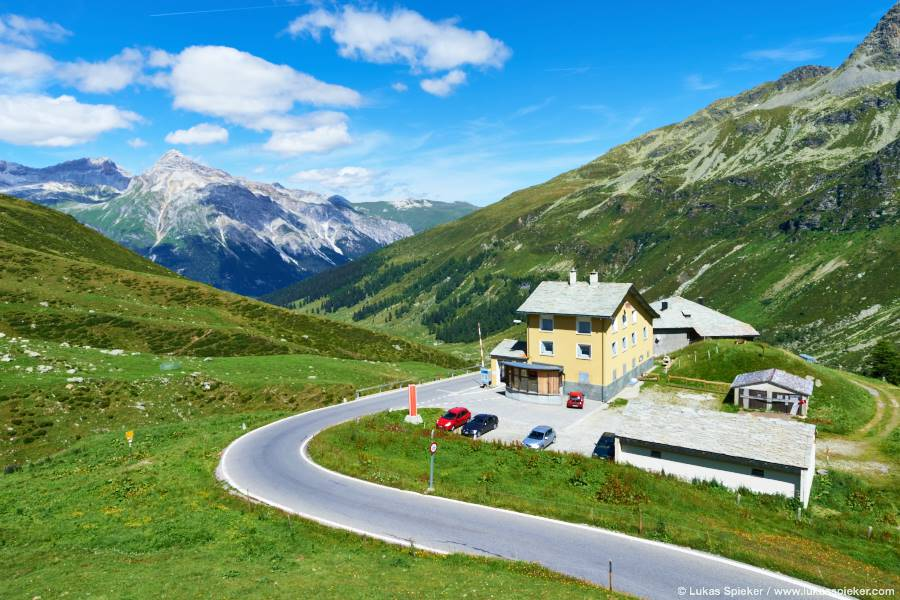 Swiss customs at the Spluegen Pass looks like the gate to a picture book paradise.
