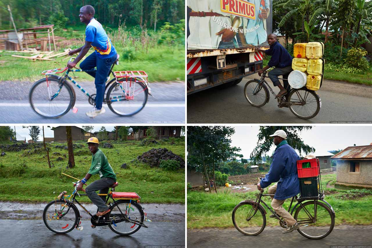 Cargo bicycles are widely used for the transportation of goods and passengers in Rwanda – which is called the land of thousand hills. For a cyclist, these hills make riding strenuous as there is hardly ever a flat stretch of road. Many riders of Team Rwanda, the cycling team based in Ruhengeri, have started as taxi or cargo bikers.