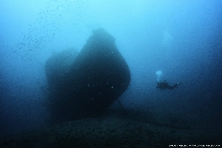Wreck Diving – The wreck of the tugboat El Peñon sits on the ground in 32 metres depth in Tabaiba, Tenerife.