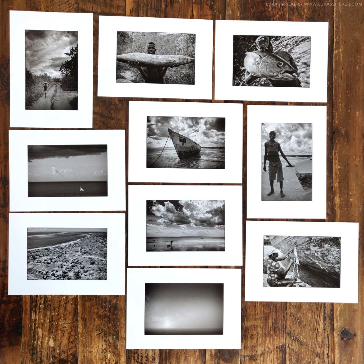 Black and white prints of the Fishermen series photographed in Mozambique.
