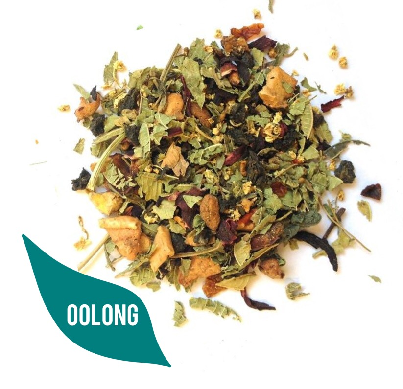 Some green tea leaves, with a green label saying Olong, on a white background.
