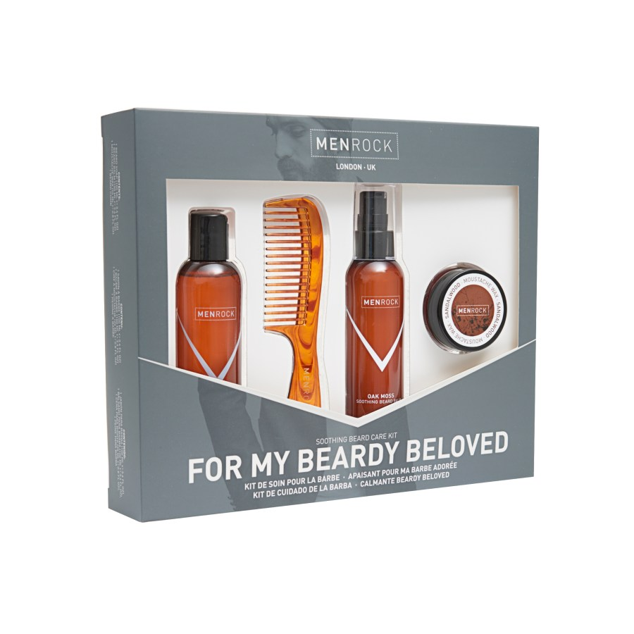 Three glass bottles containing beard products, and one metal tub containing a beard product, in a dark box with a label saying for my beardy beloved on the box, on a white background.