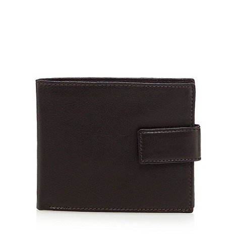 The front of a dark brown leather wallet, on a white background.