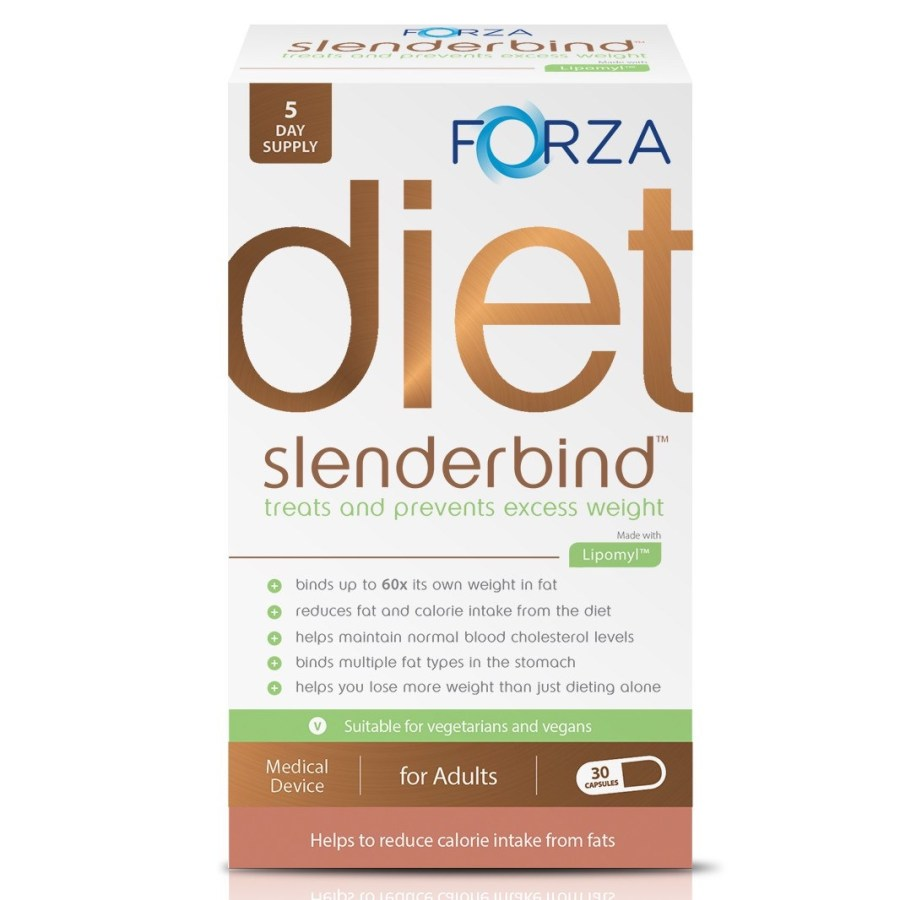 A white box with forza written in light blue writing, and slenderbind written in green writing on the box, on a white background.