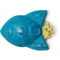 A blue rocket shaped bath bomb with some windows and some fire on it, on a white background.
