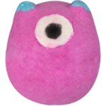A bright hot pink spherical bath bomb with a white bath bomb inside it that has a black coloured pupil embedded into it to resemble an eye ball, on a white background.