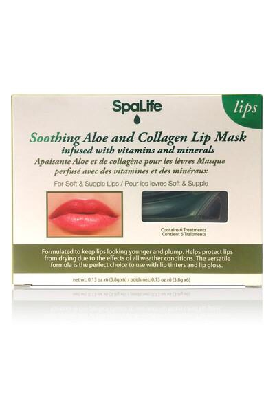 A rectangular white cardboard box that has spa Life written in medium black writing, soothing aloe & collagen lip masks written in italic black writing, infused with vitamins and minerals written in smaller black writing, and a picture of some pink Lips on it, on a white background.