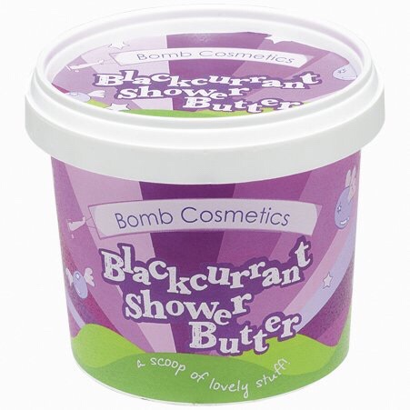 a short cylindrical purple and pink plastic tub that has Bomb Cosmetics Blackcurrant Cleansing Shower Butter written in white writing on it, on a white background.