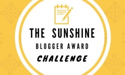 A white circle with a yellow border that has The Sunshine Blogger Award's Challenge written in bold black writing on it, on a yellow background.