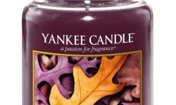 A tall glass Jar full of some dark blue coloured wax with a label that has yankee candle written in black writing, Autumn Glow written in black writing, and a picture of some orange and brown leaves on it, on a bright background.