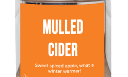 A tall cylindrical silver metal tub with an orange label that has bird & blend Tea Company Mulled Cider written in bold white writing and a picture of a slice of apple on it, on a white background.