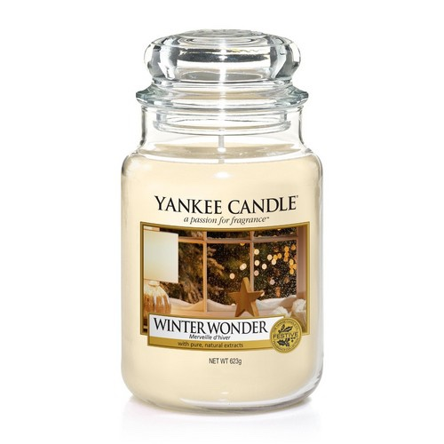 A tall cylindrical Glass Jar full of some creamy White coloured wax with a label that has Yankee Candle written in black writing, Winter Wonder written in black writing, and a picture of a snowy Winter Window scene on it, on a white background.