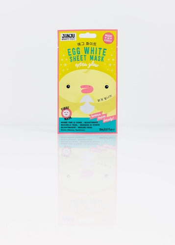 A tall rectangular bright yellow plastic pouch that has Jiinju Egg White Sheet Mask written in dark blue writing and a picture of a yellow chick with a pink beak on it, on a white background.