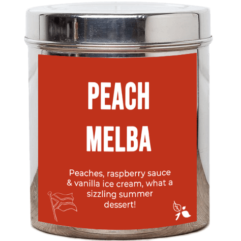 A short cylindrical silver metal tub with a bright orange label that has bird & blend tea company Peach Melba written in bold white writing on it, on a white background.