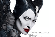 A picture of a tall woman with light blue eyes, red lips and dark purple horns that has Disney written in small black writing and Maleficent : Mistress of Evil written in bold gold writing underneath it, on a white background.