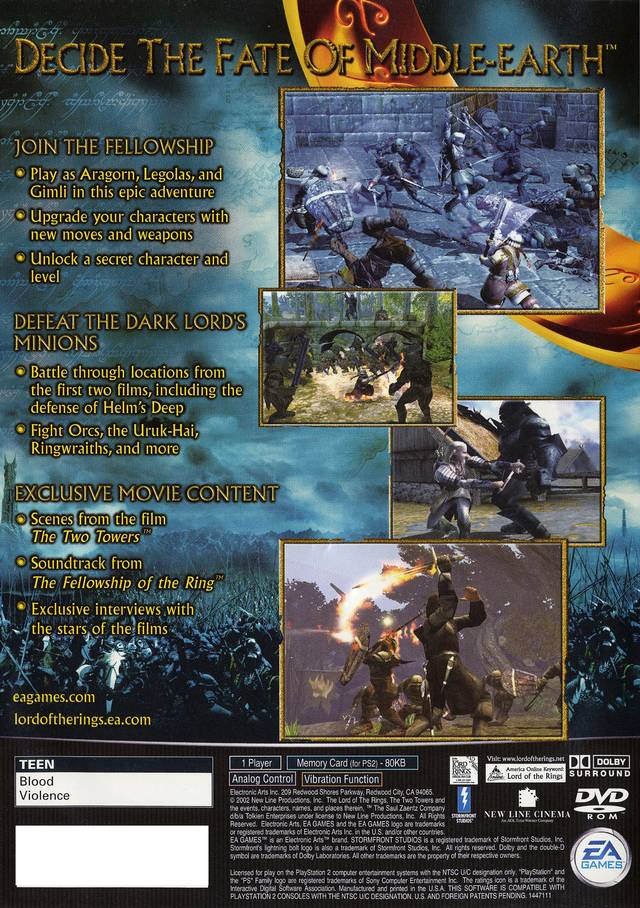 Lord Of The Rings Two Towers Sony Playstation 2 Game