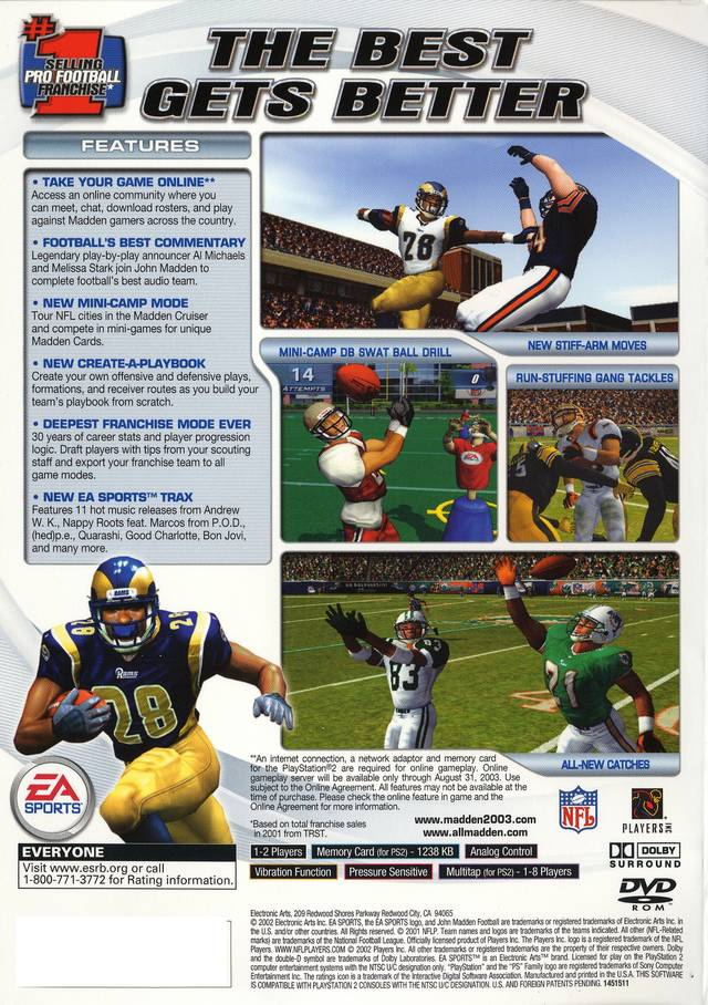 Madden 2003 Sony Playstation 2 Game